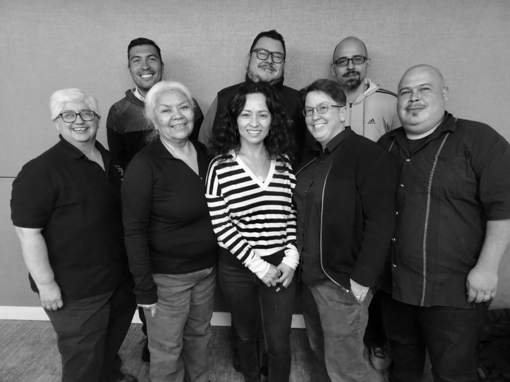 Board members: Maria Gonzalez, Ernesto Colin, Julia Curry, Aureliano De Soto, Lilia Soto, Karleen Pendleton Jimenez, Fransisco Villegas, and Roberto Hernandez.  Missing Tereza Szeghi. Photo by Kathy Blackmer-Reyes